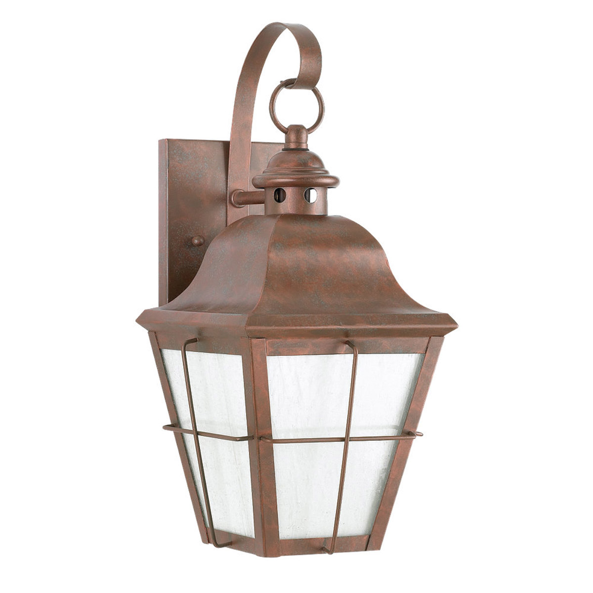 Sea Gull 8463D-44 Chatham 1 Light 21 inch Weathered Copper Outdoor Wall Lantern in Clear Seeded with inner white panels photo