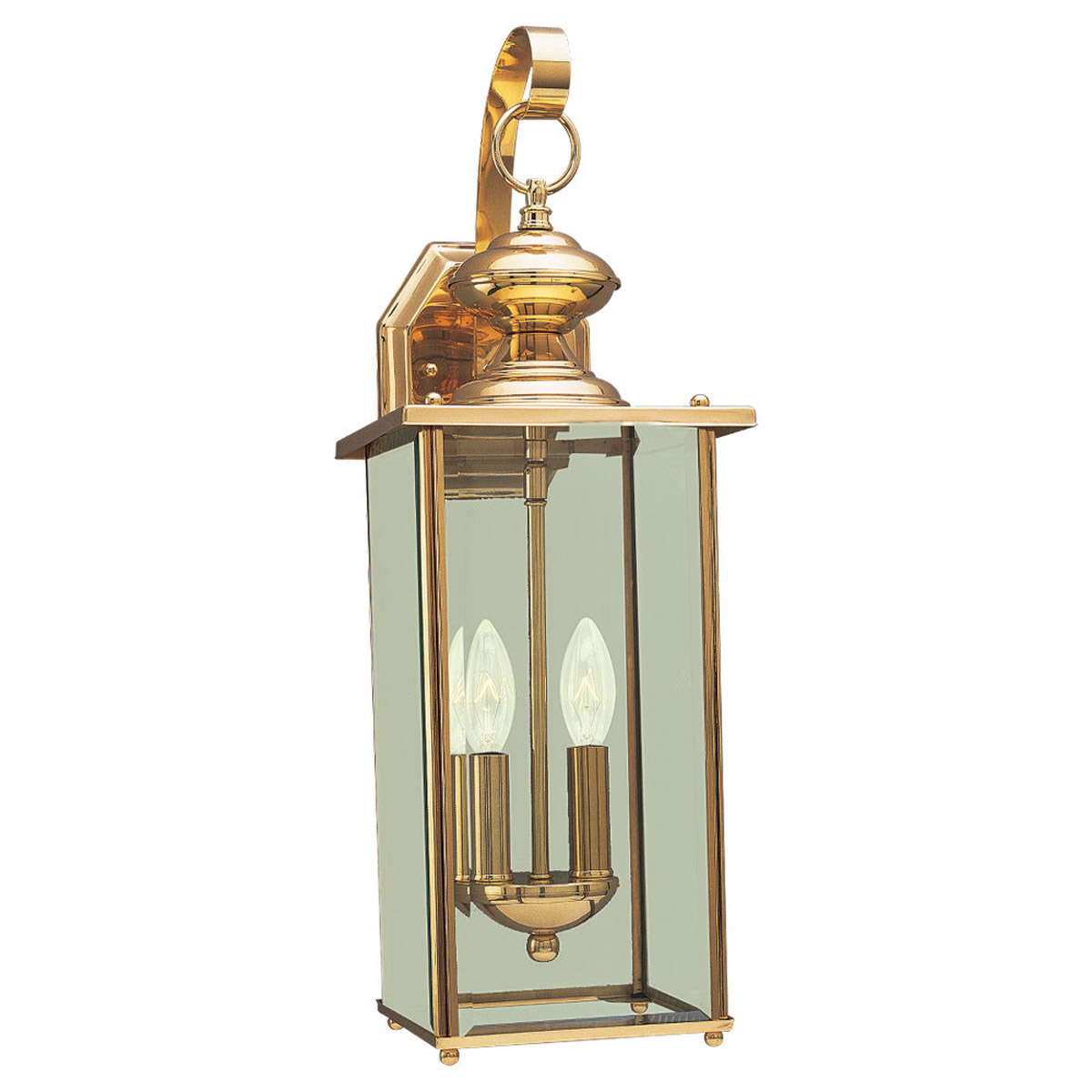 Sea Gull Lighting Jamestowne 2 Light Outdoor Wall Lantern in Polished Brass 8468-02 photo