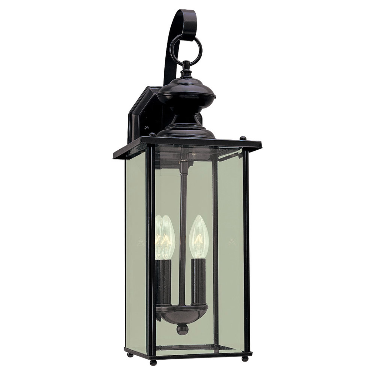 Sea Gull Lighting Jamestowne 2 Light Outdoor Wall Lantern in Black 8468-12