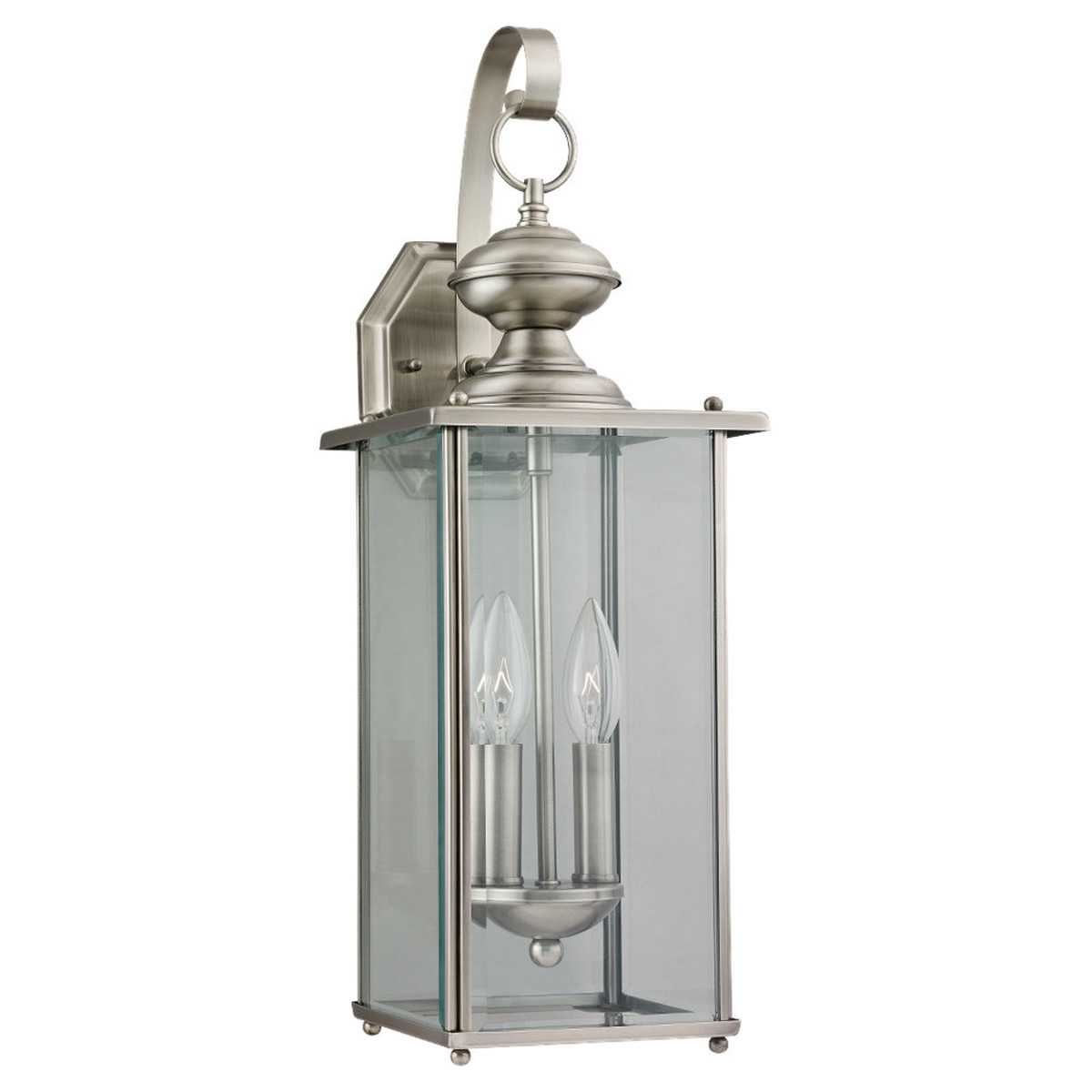 Sea Gull Lighting Jamestowne 2 Light Outdoor Wall Lantern in Antique Brushed Nickel 8468-965