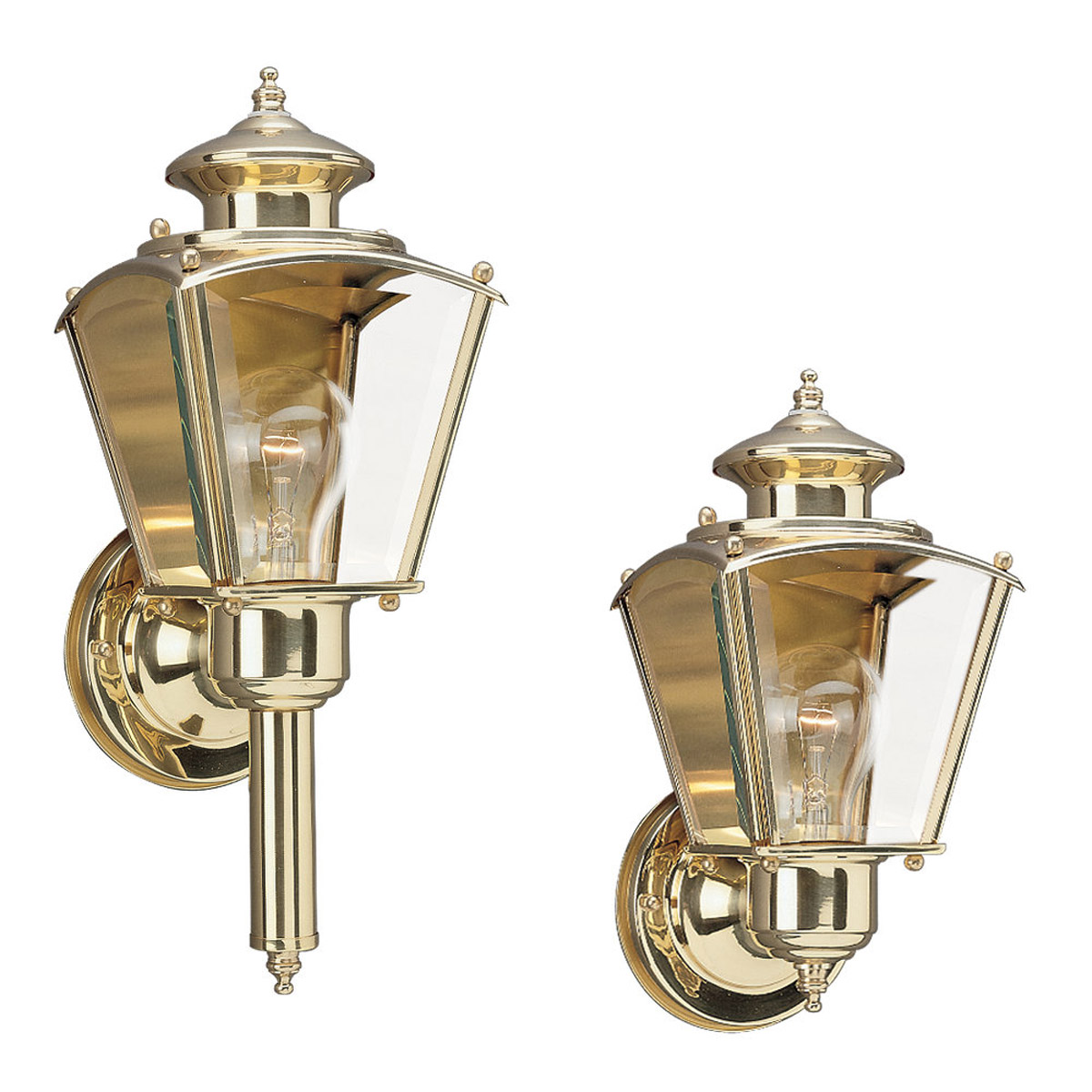 Sea Gull Lighting New Castle 1 Light Outdoor Wall Lantern in Polished Brass 8503-02