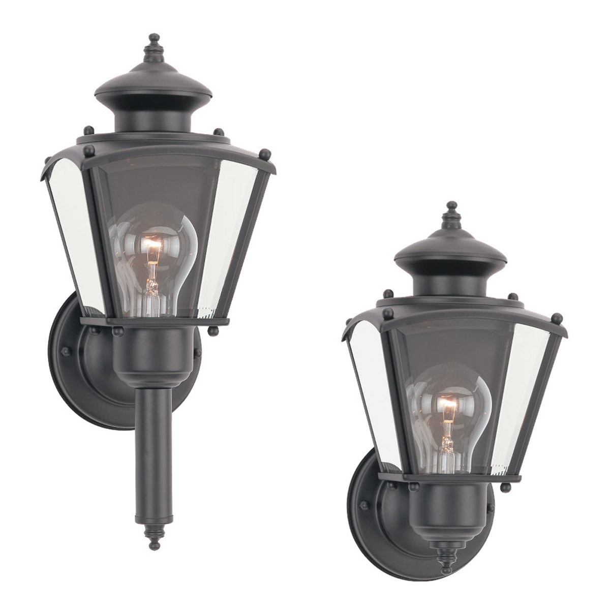 Sea Gull Lighting New Castle 1 Light Outdoor Wall Lantern in Black 8503-12 photo
