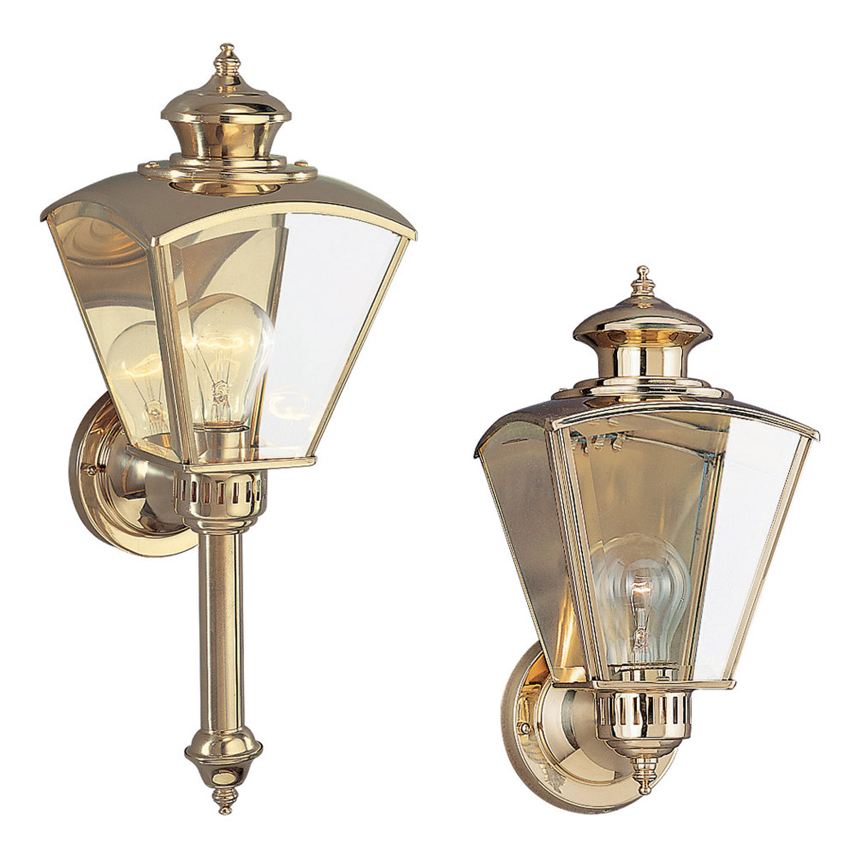 Sea Gull Lighting New Castle 1 Light Outdoor Wall Lantern in Polished Brass 8504-02