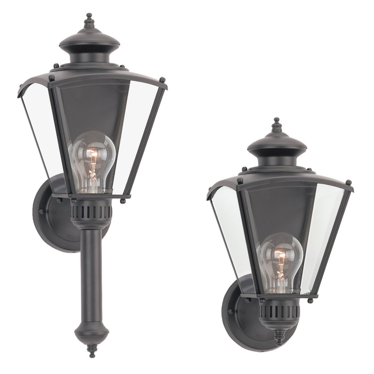 Sea Gull Lighting New Castle 1 Light Outdoor Wall Lantern in Black 8504-12 photo