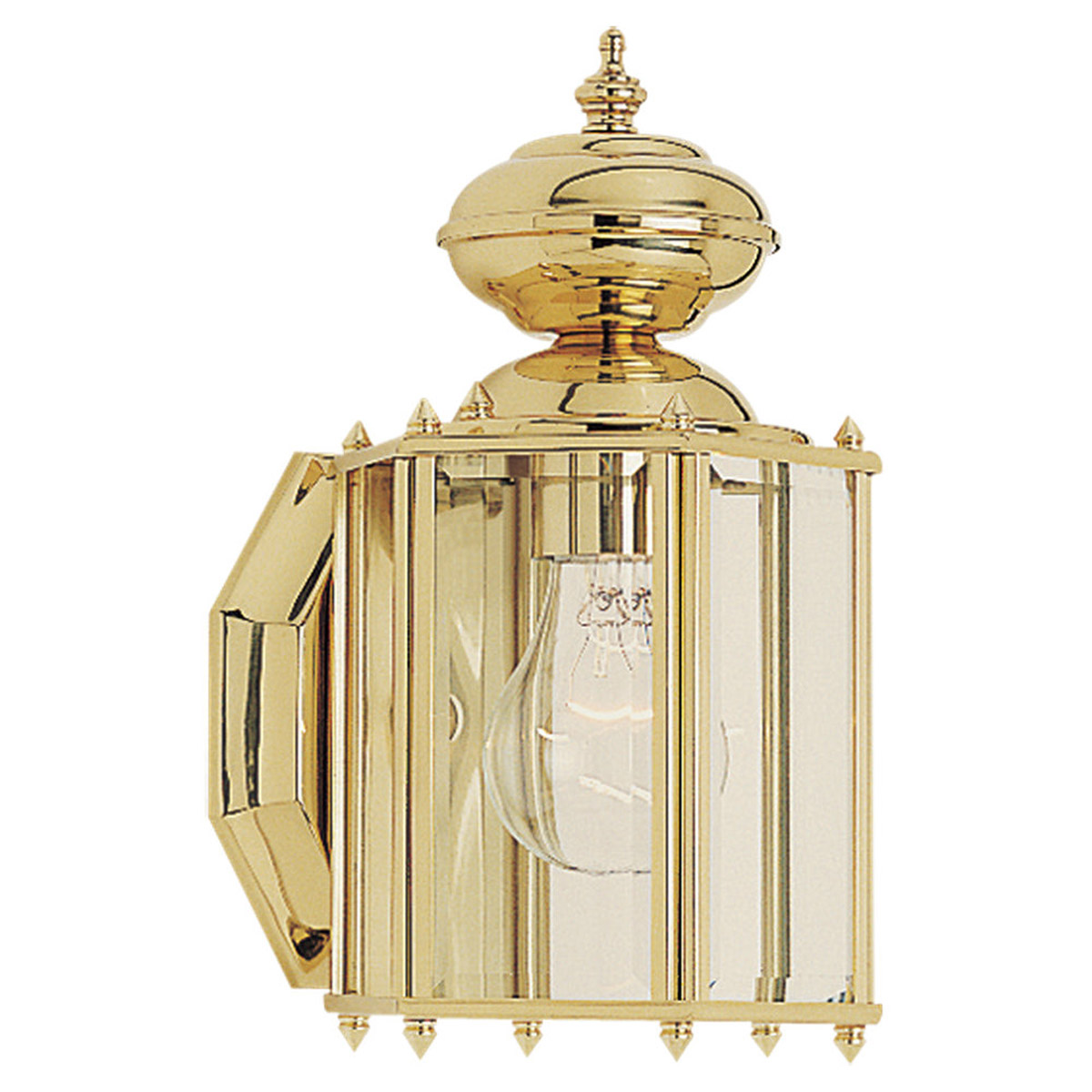 Sea Gull Lighting Classico 1 Light Outdoor Wall Lantern in Polished Brass 8507-02