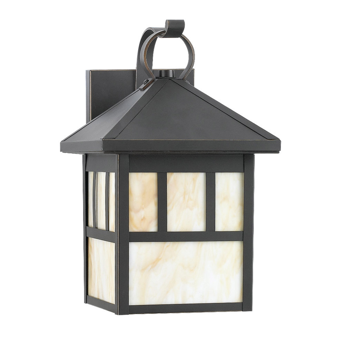 Sea Gull Lighting Prairie Statement 1 Light Outdoor Wall Lantern in Antique Bronze 8508D-71