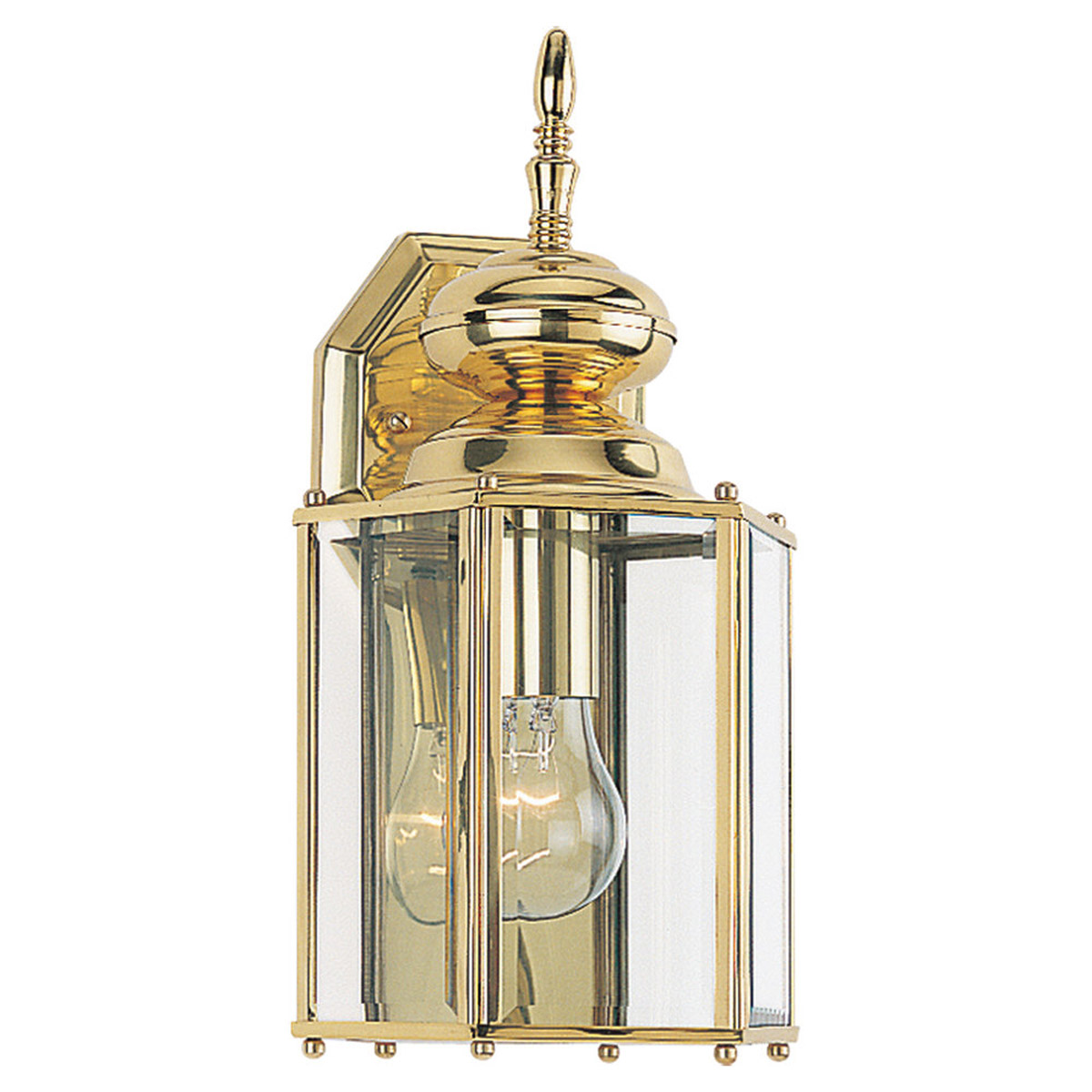 Sea Gull Lighting Classico 1 Light Outdoor Wall Lantern in Polished Brass 8509-02 photo