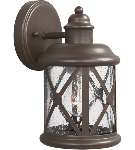 Outdoor Wall Sconce Antique Brass : Sea Gull 8521401-71 Lakeview 1 Light 10 inch Antique Bronze Outdoor Wall Sconce in Clear Seeded ...