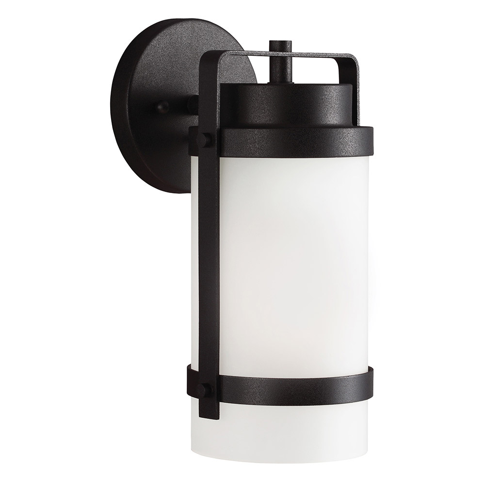 Sea Gull Bucktown 1 Light Wall Lantern in Black 8522401BLE-12