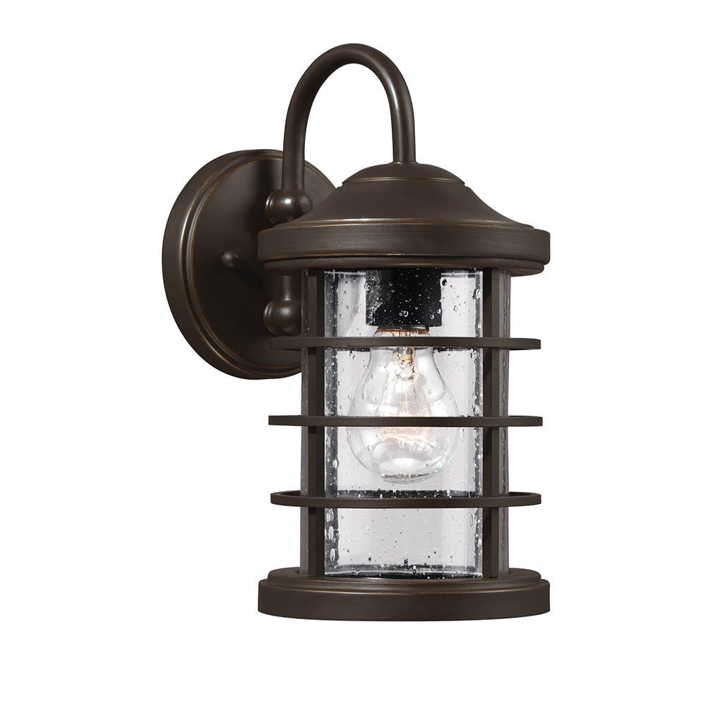 Sea Gull Sauganash 1 Light Wall Lantern in Antique Bronze 8524401BLE-71