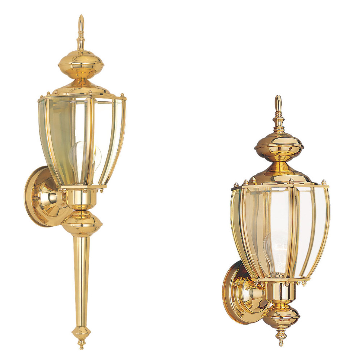 Sea Gull Lighting Society Hill 1 Light Outdoor Wall Lantern in Polished Brass 8578-02