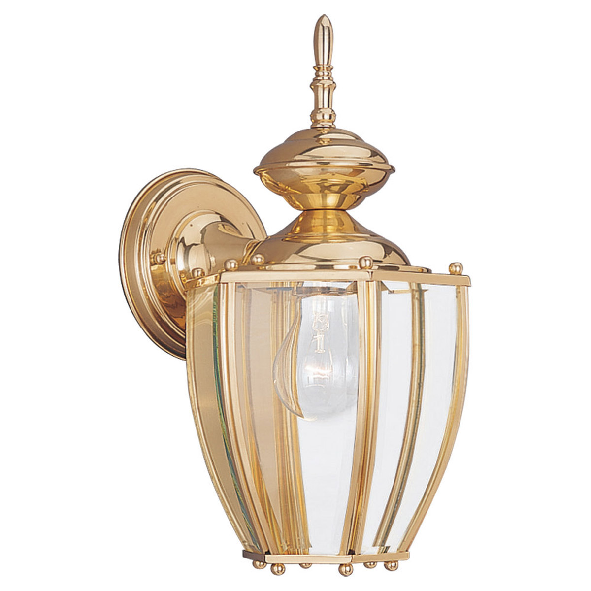 Sea Gull Lighting Society Hill 1 Light Outdoor Wall Lantern in Polished Brass 8580-02