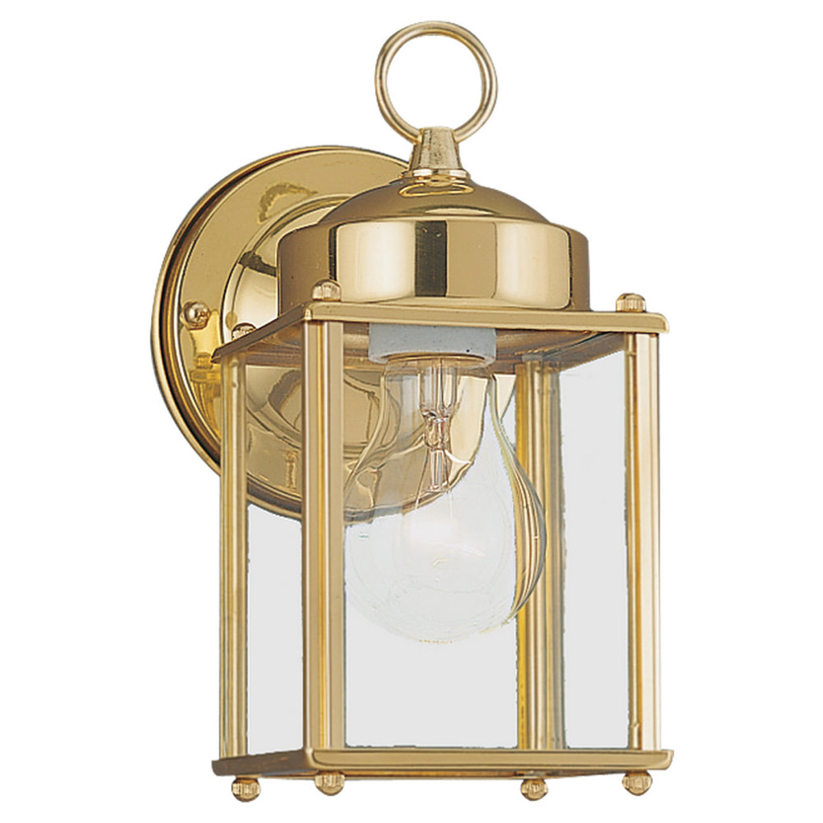 Sea Gull 8592-02 New Castle 1 Light 8 inch Polished Brass Outdoor Wall Lantern photo