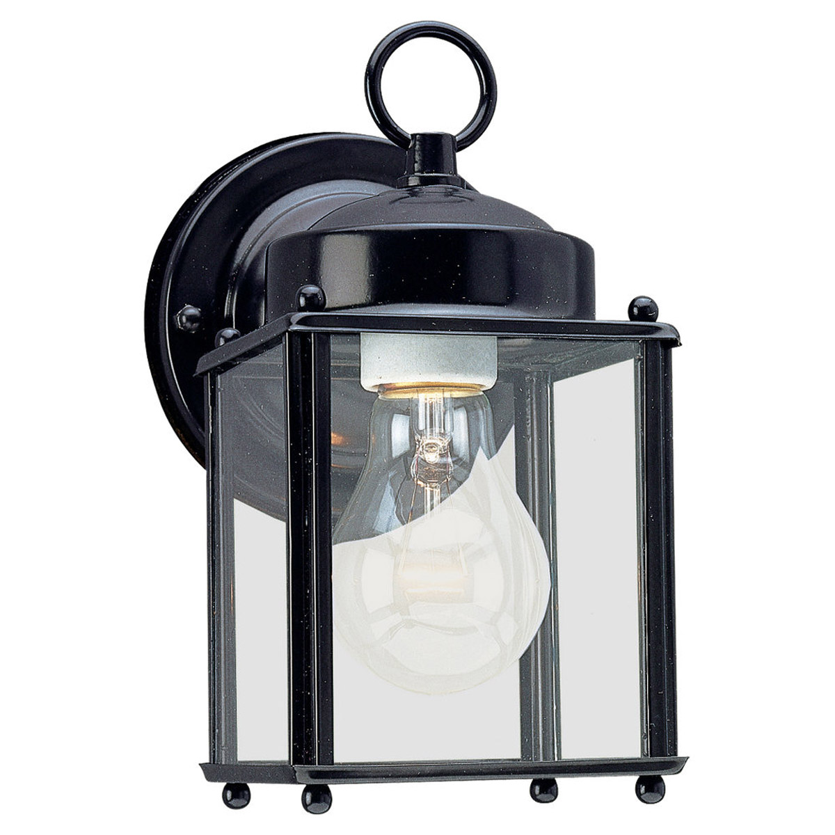 Sea Gull 8592-12 New Castle 1 Light 8 inch Black Outdoor Wall Lantern photo