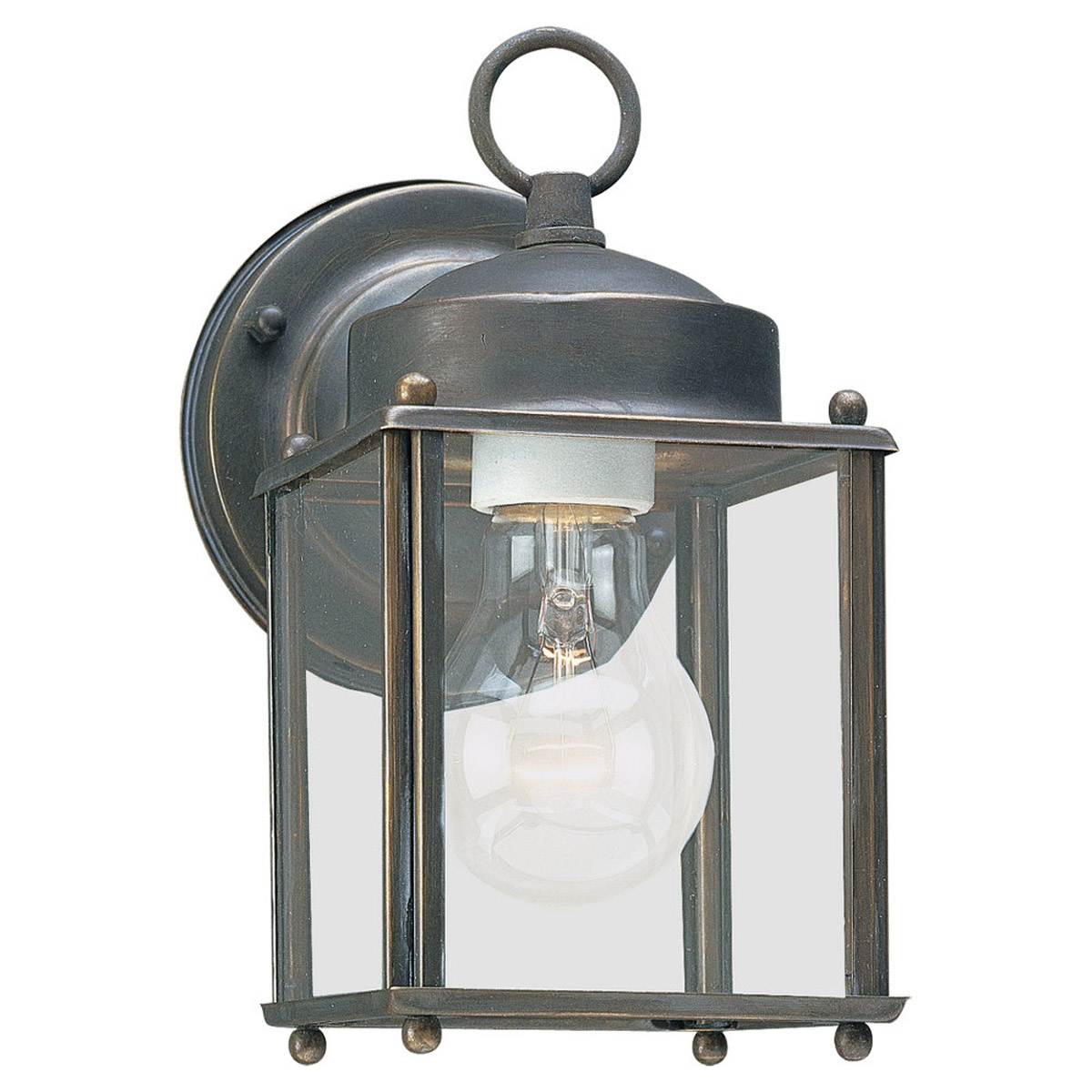 Sea Gull Lighting New Castle 1 Light Outdoor Wall Lantern in Antique Bronze 8592-71 photo