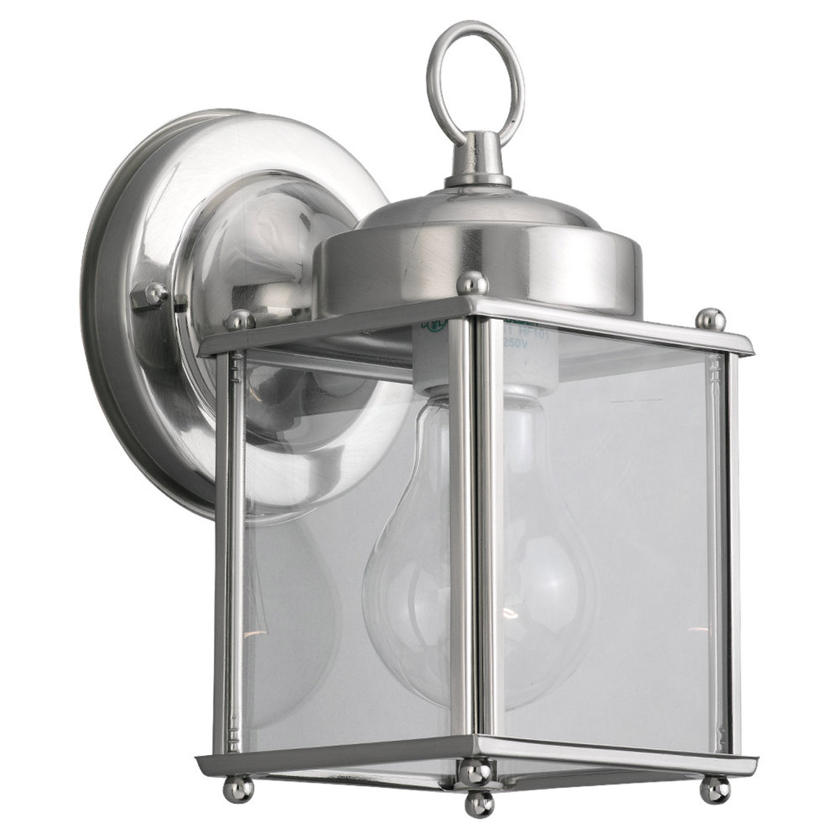Sea Gull Lighting New Castle 1 Light Outdoor Wall Lantern in Antique Brushed Nickel 8592-965 photo