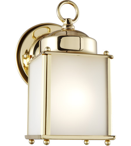 Sea Gull 8592001-02 New Castle 1 Light 8 inch Polished Brass Outdoor Wall Lantern photo