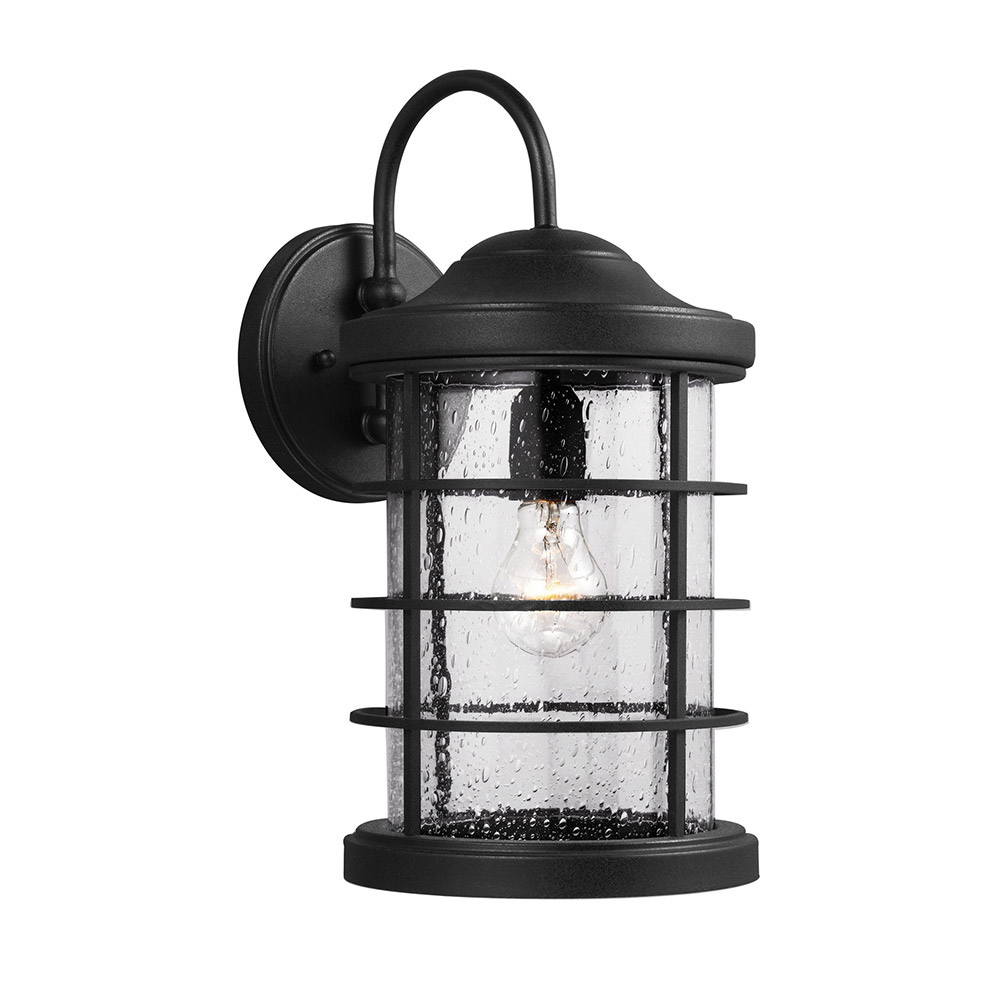 Sea Gull 8624401-12 Sauganash 1 Light 9 inch Black Wall Lantern Wall Light in Standard photo