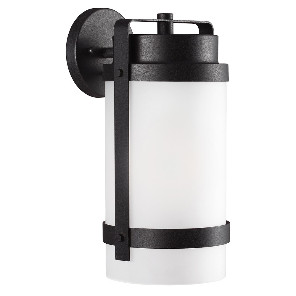 Sea Gull Bucktown 1 Light Wall Lantern in Black 8722401BLE-12