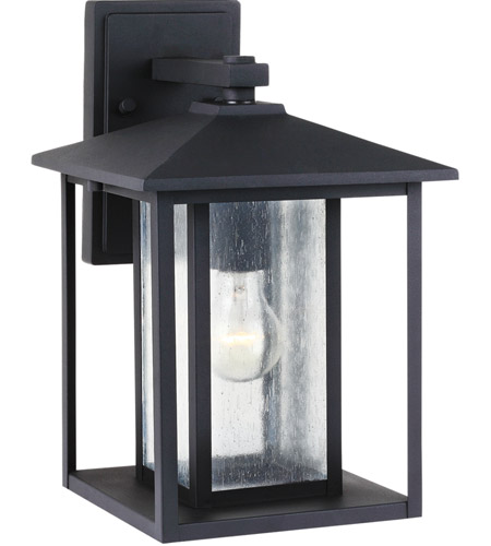 Sea Gull Hunnington 1 Light Outdoor Wall Lantern in Black 88027-12 photo