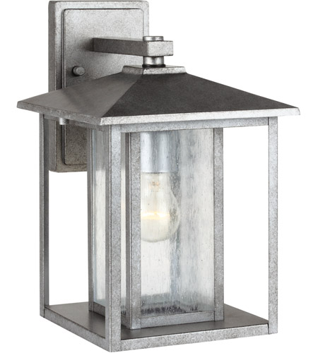 Sea Gull Hunnington 1 Light Outdoor Wall Lantern in Weathered Pewter 88027-57