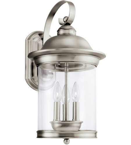 Sea Gull Lighting Hermitage 3 Light Outdoor Wall Lantern in Antique Brushed Nickel 88083-965