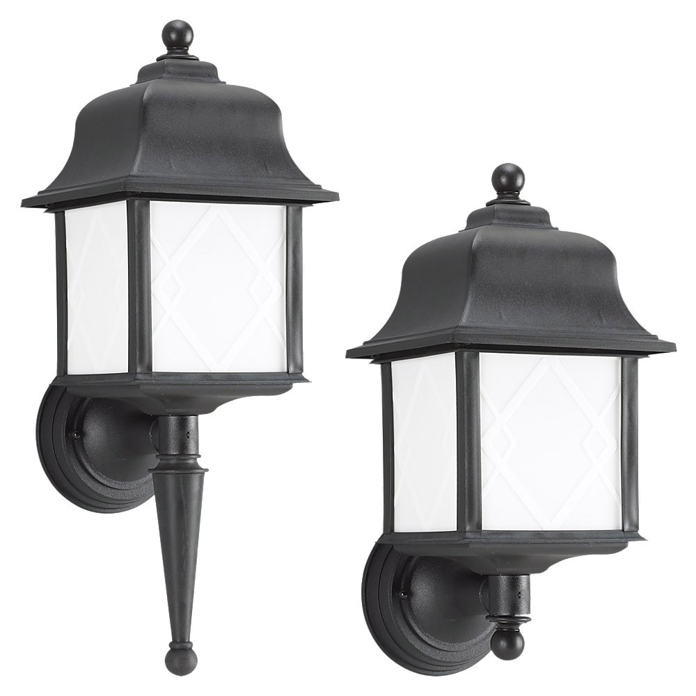 Sea Gull Lighting Harbor Point 1 Light Outdoor Wall Lantern in Black 88113BLE-12 photo