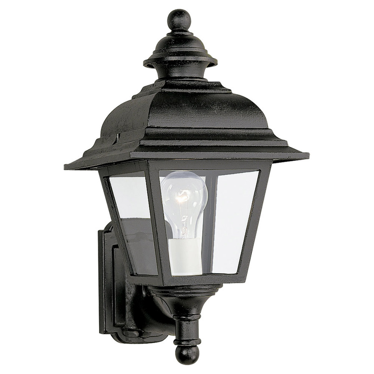 Sea Gull Lighting Bancroft 1 Light Outdoor Wall Lantern in Black 8815-12 photo