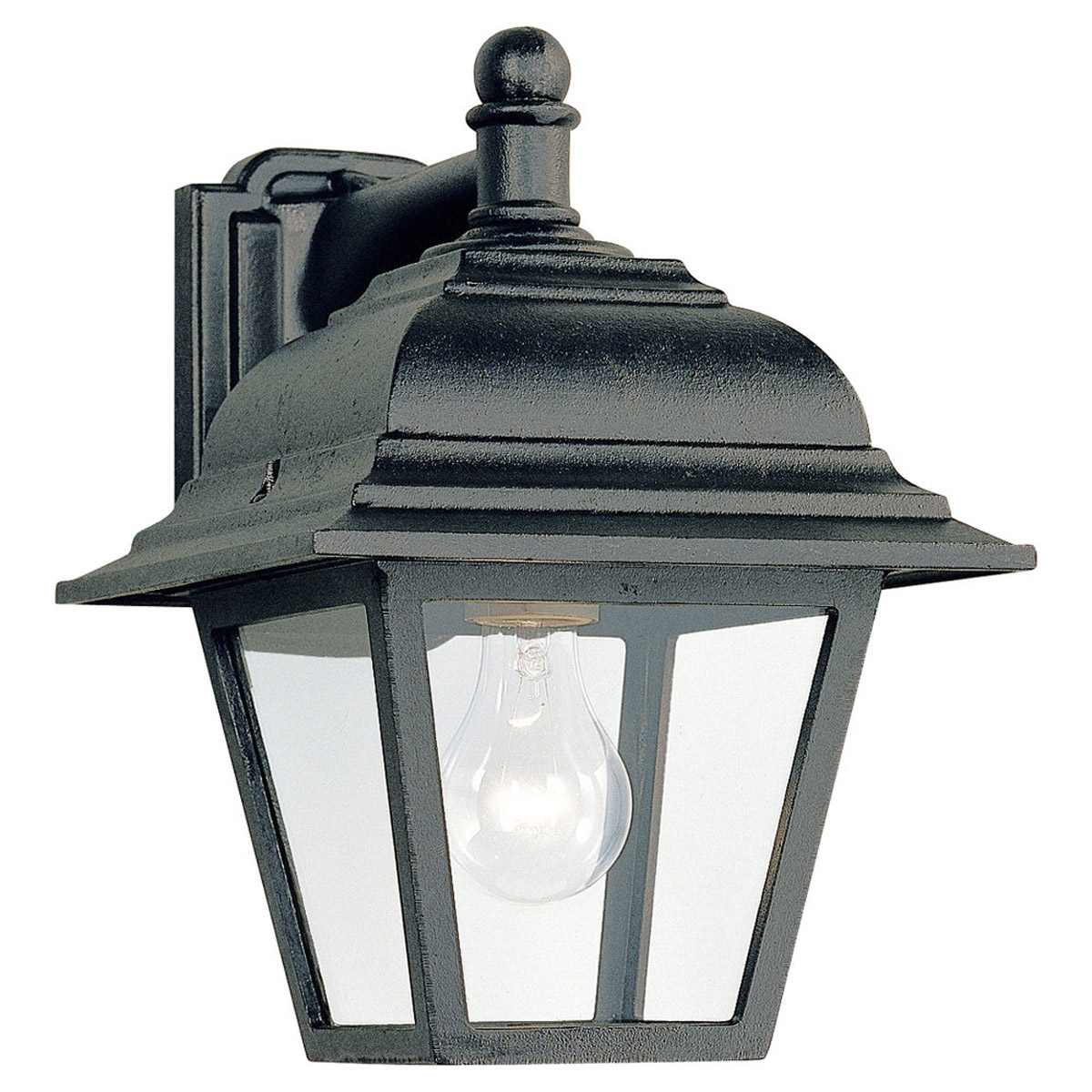 Sea Gull Lighting Bancroft 1 Light Outdoor Wall Lantern in Black 8816-12