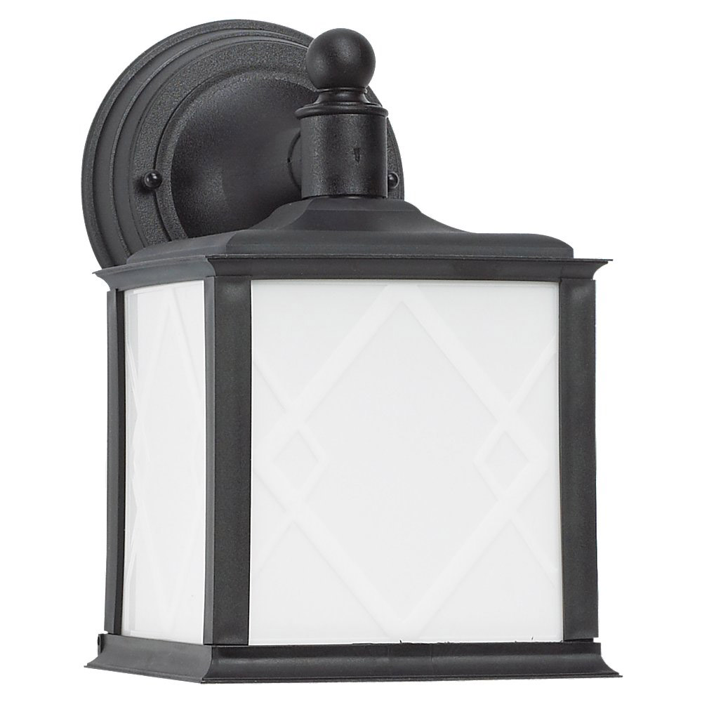 Sea Gull Lighting Harbor Point 1 Light Outdoor Wall Lantern in Black 88198BLE-12