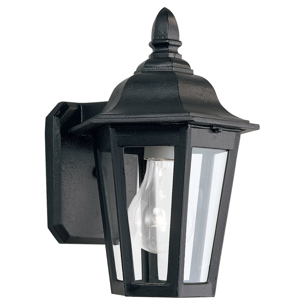 Sea Gull Lighting Brentwood 1 Light Outdoor Wall Lantern in Black 8822-12 photo