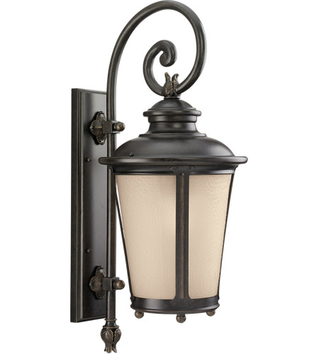 Sea Gull 88242-780 Cape May 1 Light 27 inch Burled Iron Outdoor Wall Lantern photo