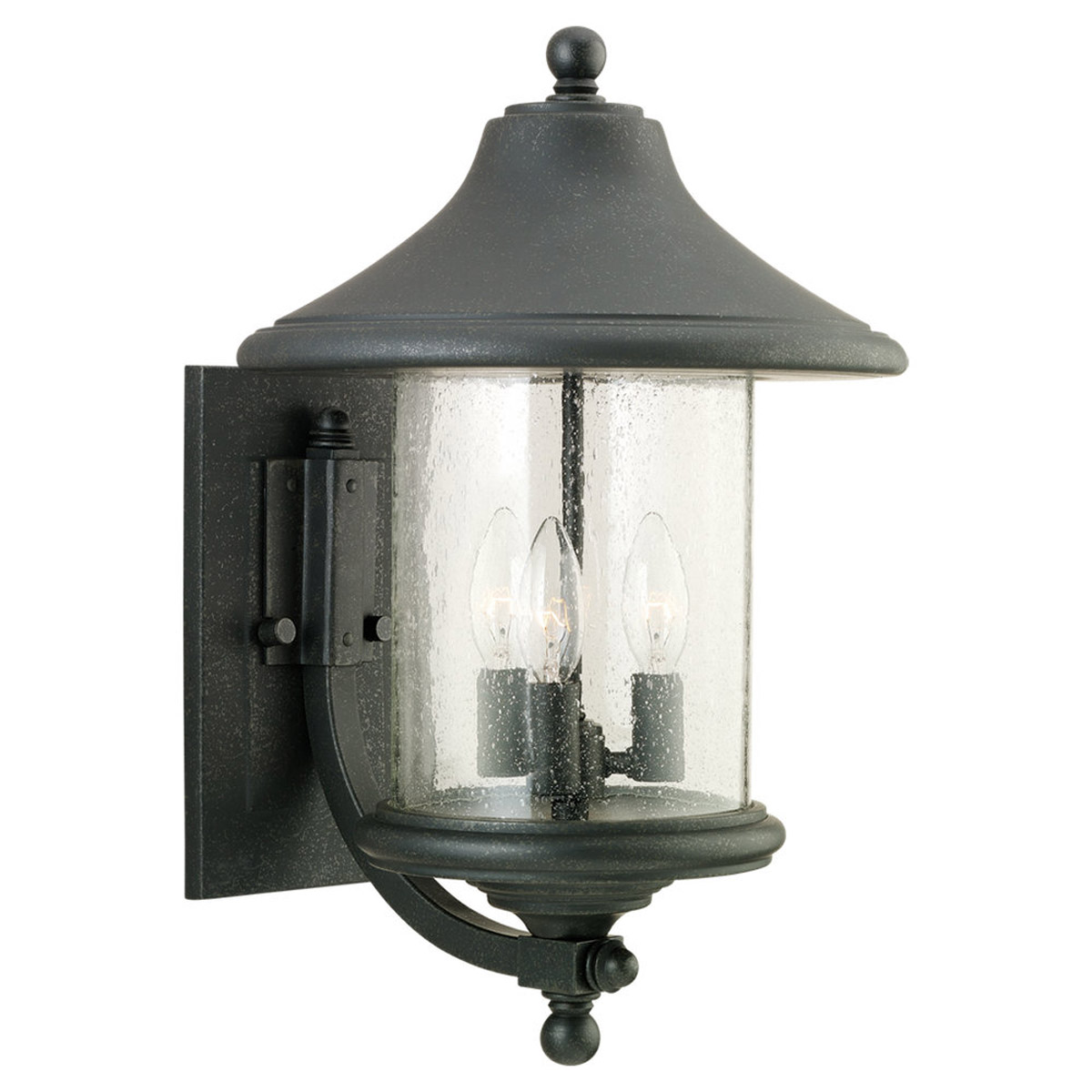 Sea Gull Lighting Berkley Hill 3 Light Outdoor Wall Lantern in Forged Iron 88307-185 photo
