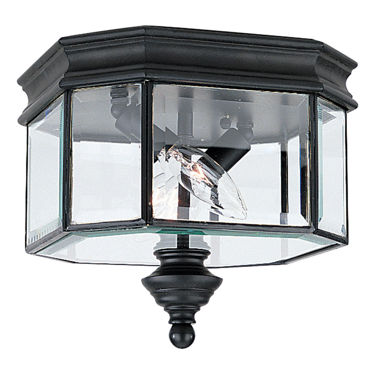 Sea Gull Lighting Hill Gate 2 Light Outdoor Wall Lantern in Black 8834-12 photo