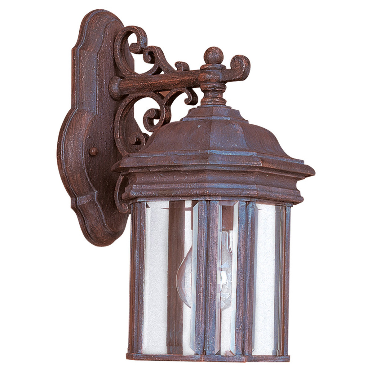 Sea Gull Lighting Hill Gate 1 Light Outdoor Wall Lantern in Textured Rust Patina 8835-08