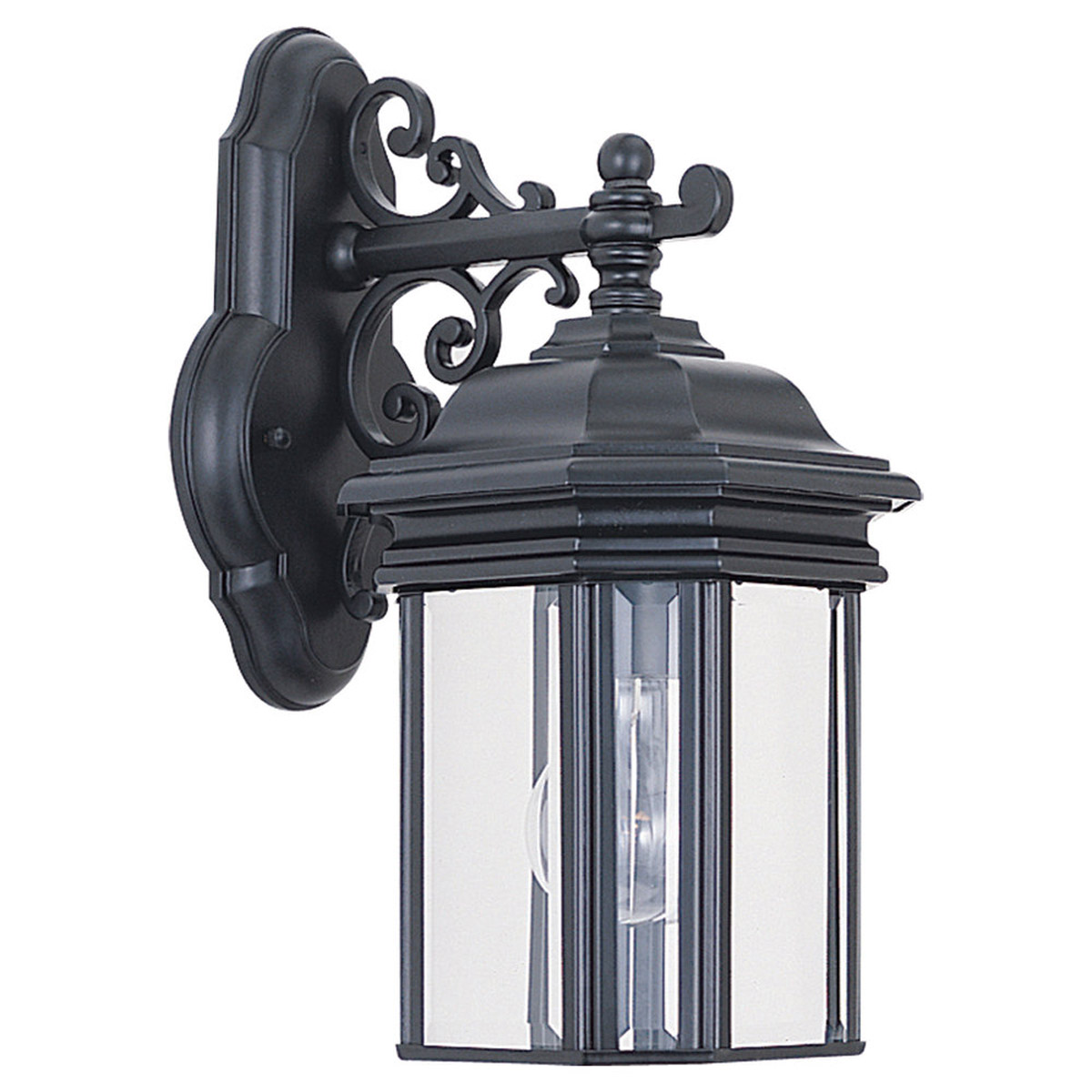 Sea Gull Lighting Hill Gate 1 Light Outdoor Wall Lantern in Black 8835-12 photo