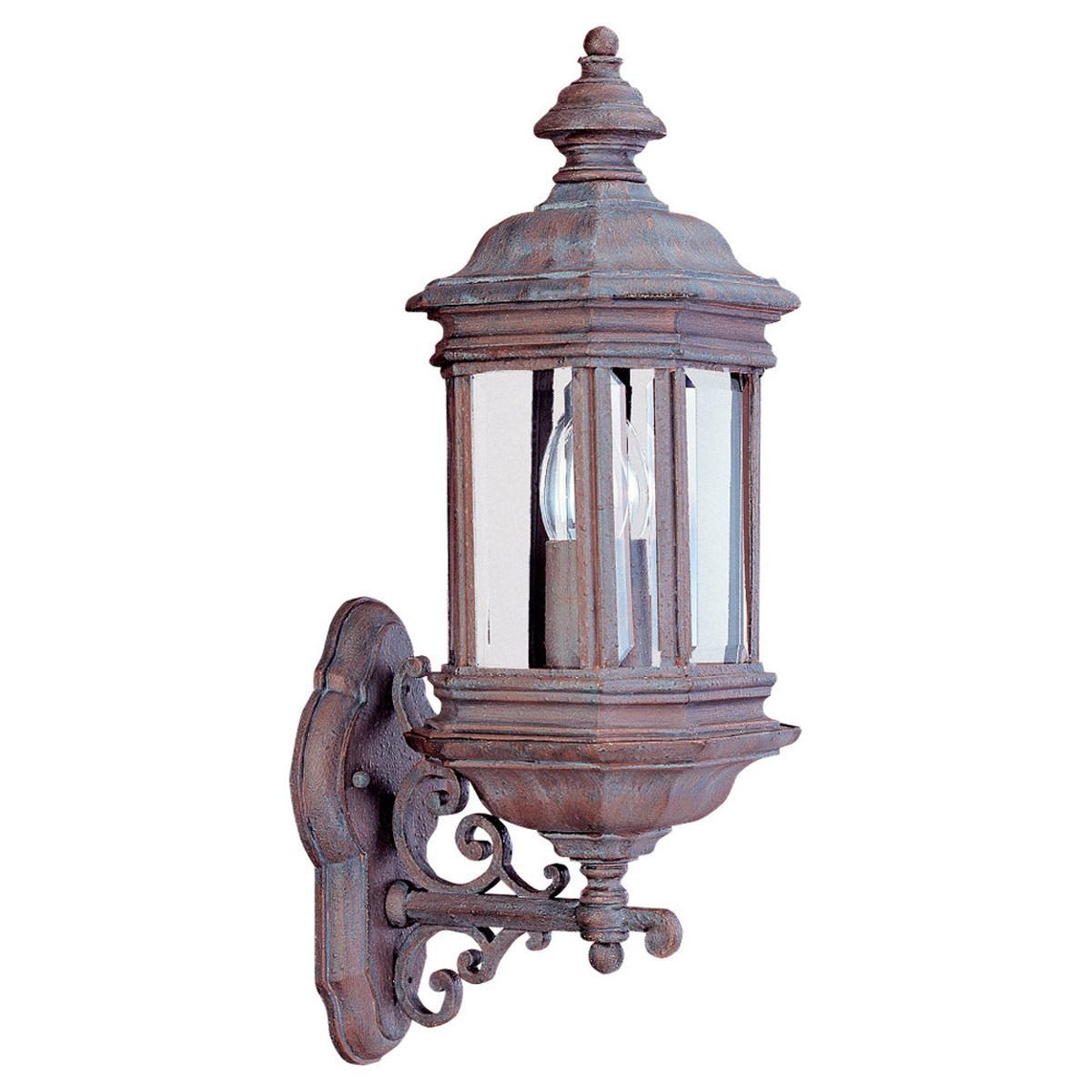 Sea Gull Lighting Hill Gate 2 Light Outdoor Wall Lantern in Textured Rust Patina 8838-08 photo
