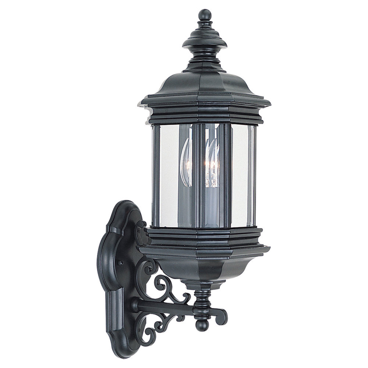 Sea Gull Lighting Hill Gate 2 Light Outdoor Wall Lantern in Black 8838-12