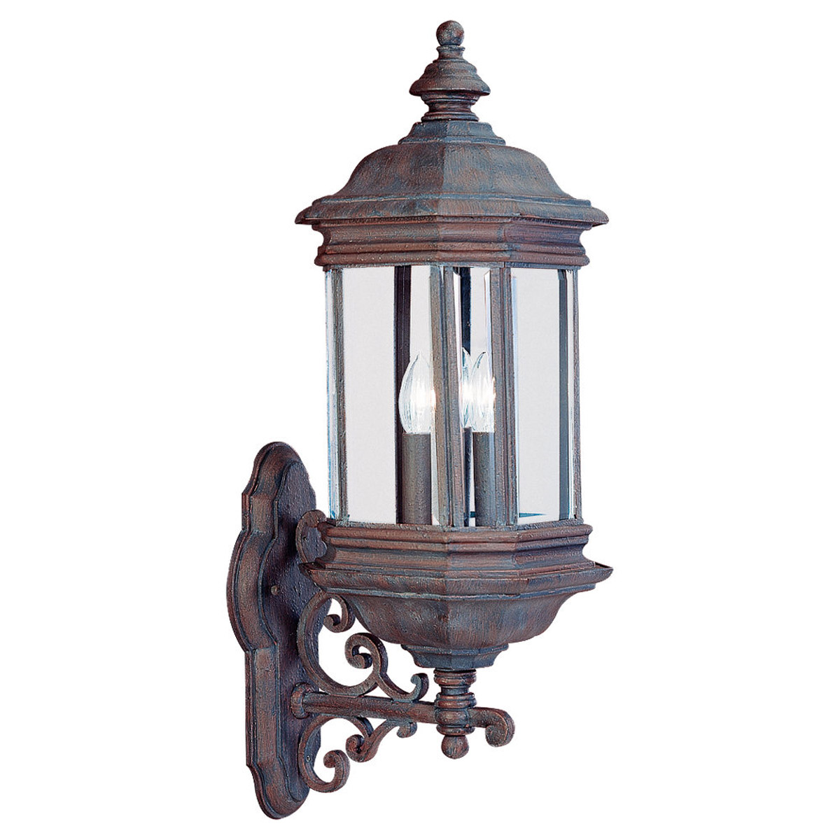 Sea Gull Lighting Hill Gate 3 Light Outdoor Wall Lantern in Textured Rust Patina 8839-08 photo
