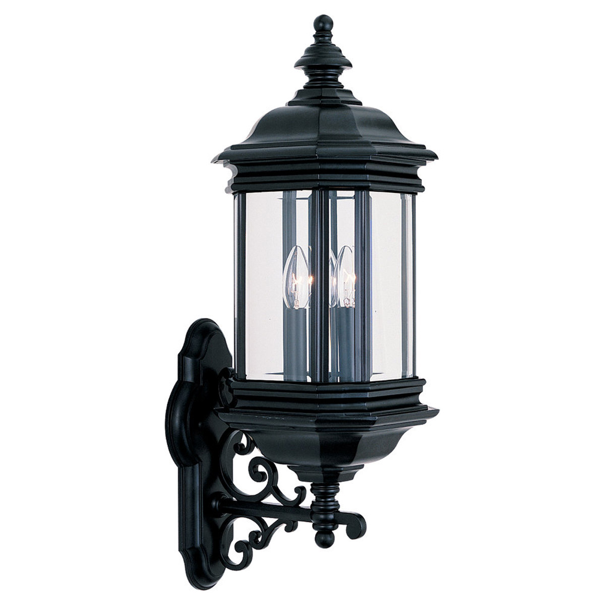Sea Gull Lighting Hill Gate 3 Light Outdoor Wall Lantern in Black 8839-12