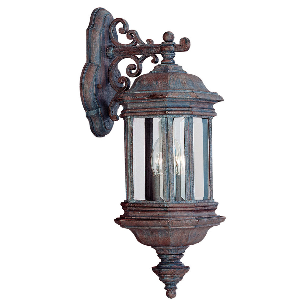 Sea Gull Lighting Hill Gate 2 Light Outdoor Wall Lantern in Textured Rust Patina 8840-08 photo
