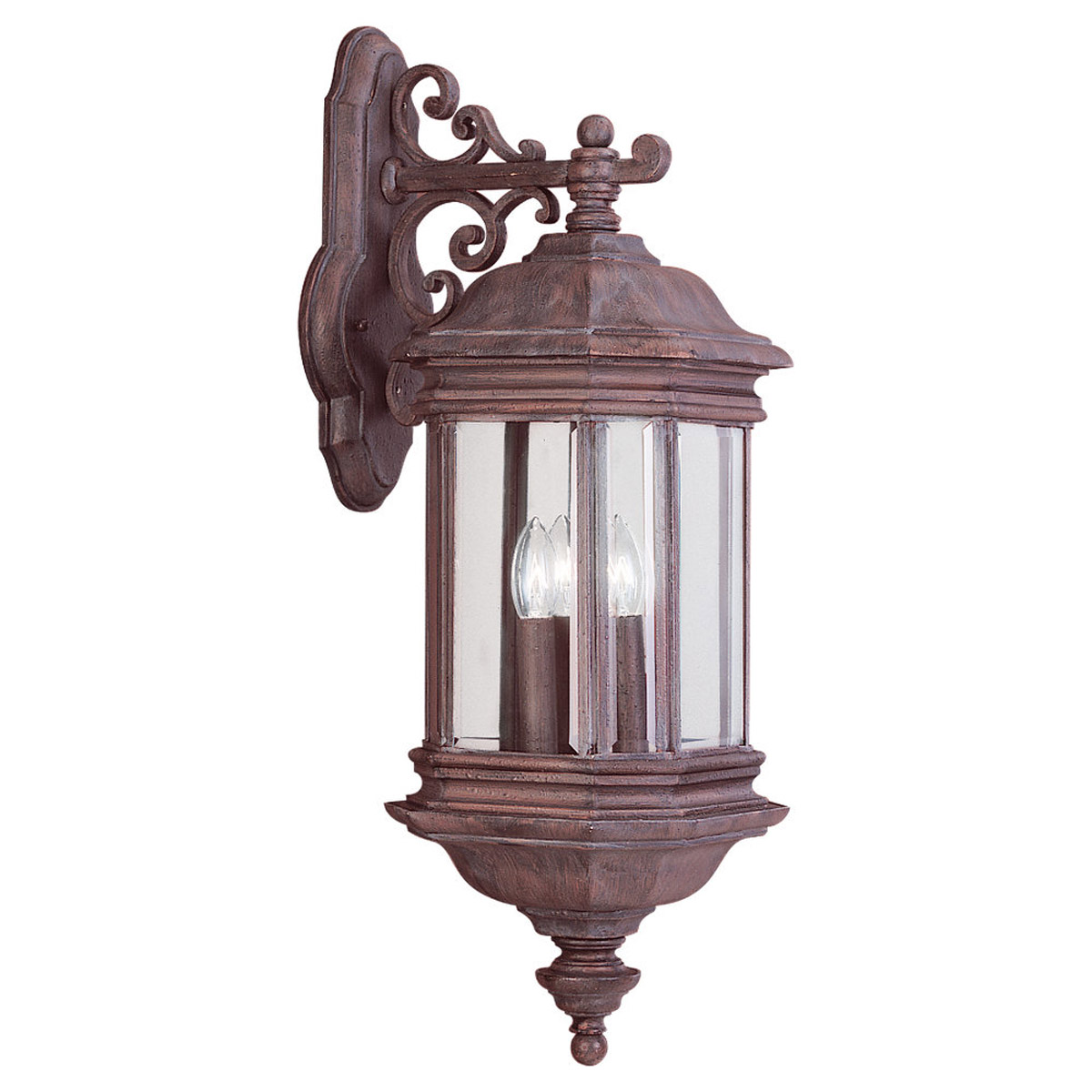 Sea Gull Lighting Hill Gate 3 Light Outdoor Wall Lantern in Textured Rust Patina 8841-08 photo