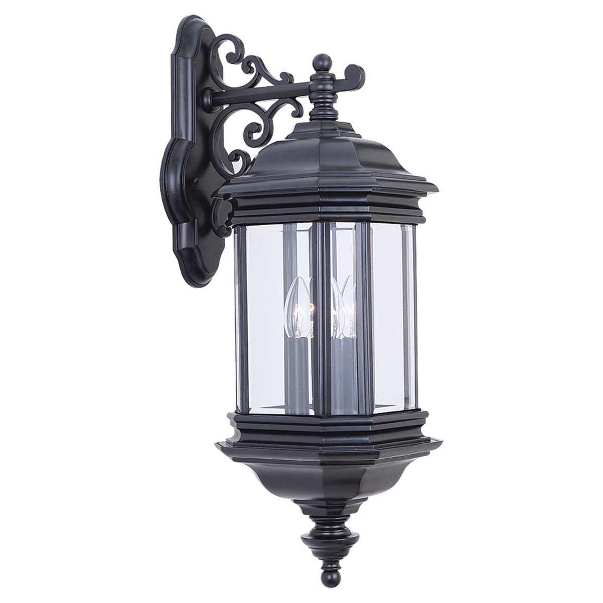Sea Gull Lighting Hill Gate 3 Light Outdoor Wall Lantern in Black 8841-12