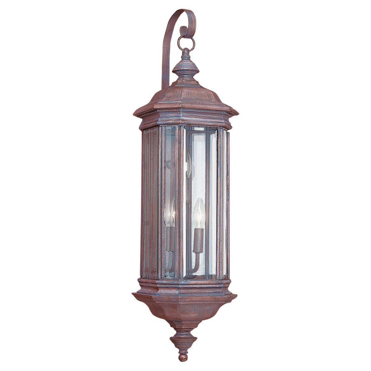 Sea Gull Lighting Hill Gate 3 Light Outdoor Wall Lantern in Textured Rust Patina 8842-08 photo