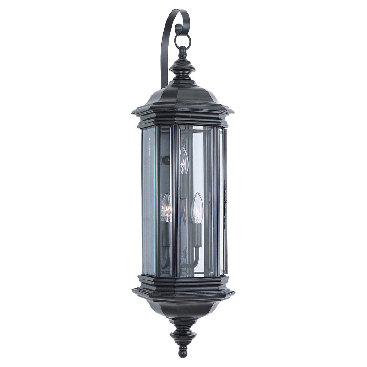 Sea Gull Lighting Hill Gate 3 Light Outdoor Wall Lantern in Black 8842-12