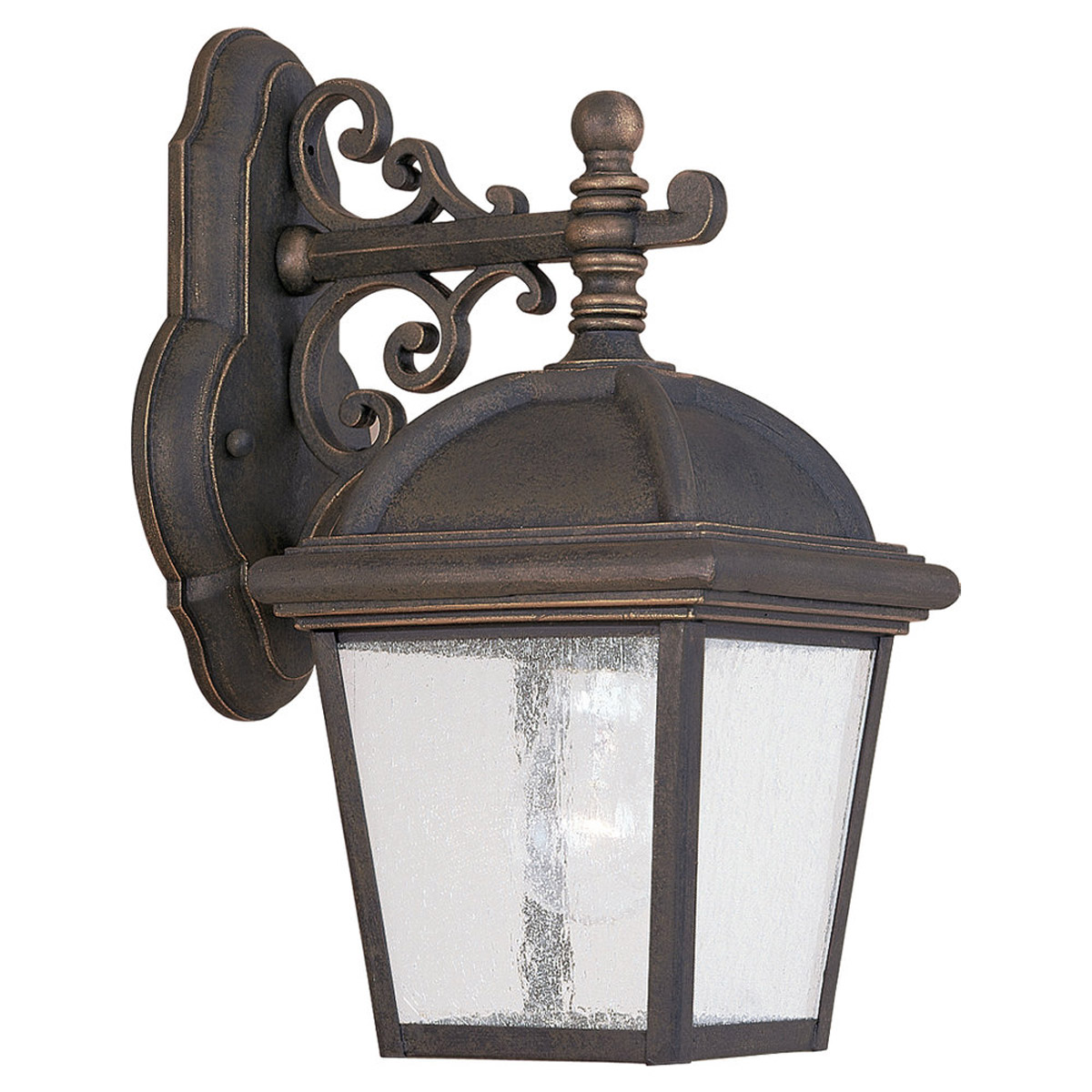 Sea Gull Lighting Charleston 1 Light Outdoor Wall Lantern in Gold Patina 8843-85 photo