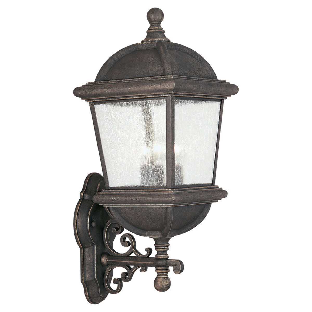 Sea Gull Lighting Charleston 3 Light Outdoor Wall Lantern in Gold Patina 8845-85 photo