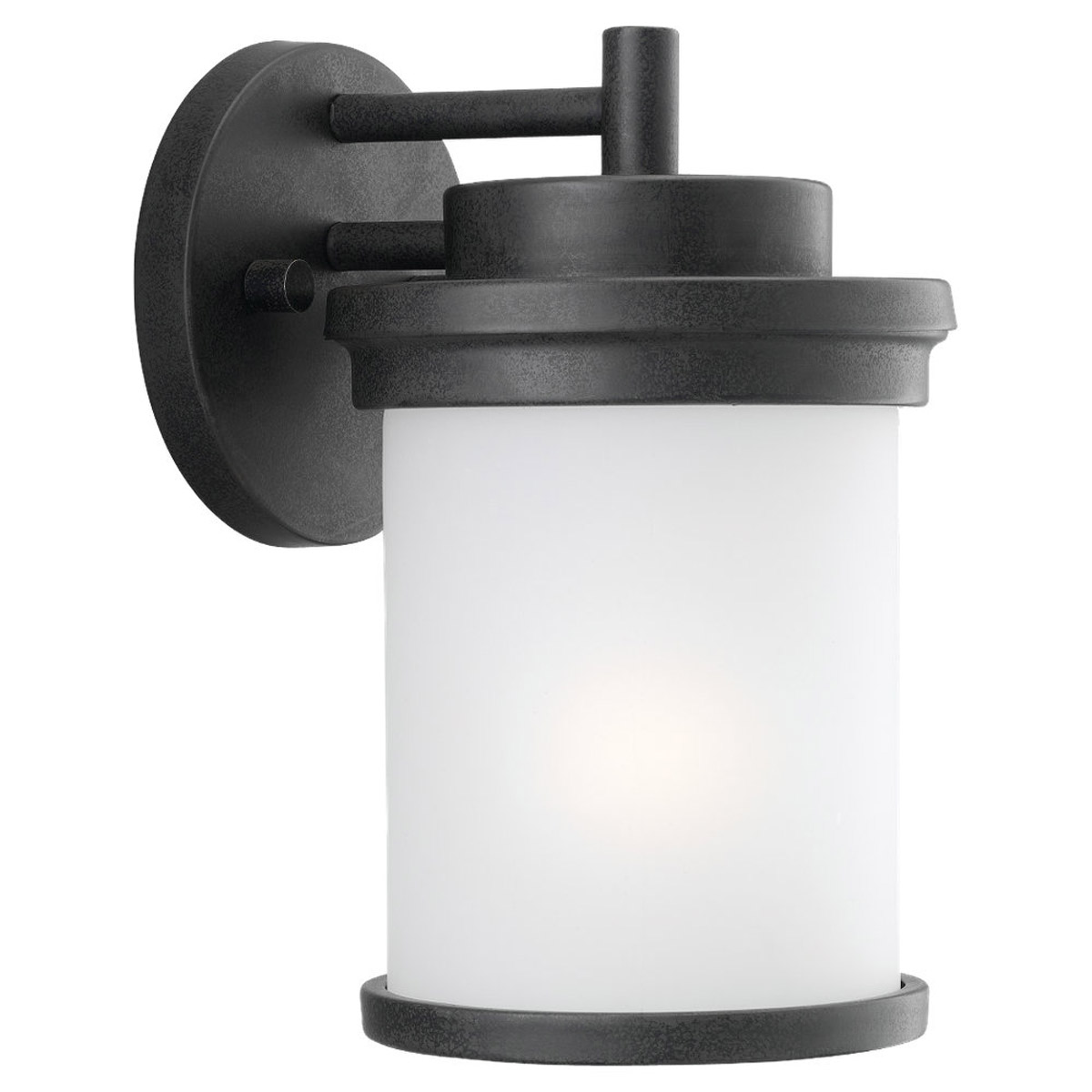 Sea Gull 88660-185 Winnetka 1 Light 10 inch Forged Iron Outdoor Wall Lantern in Satin Etched Glass photo