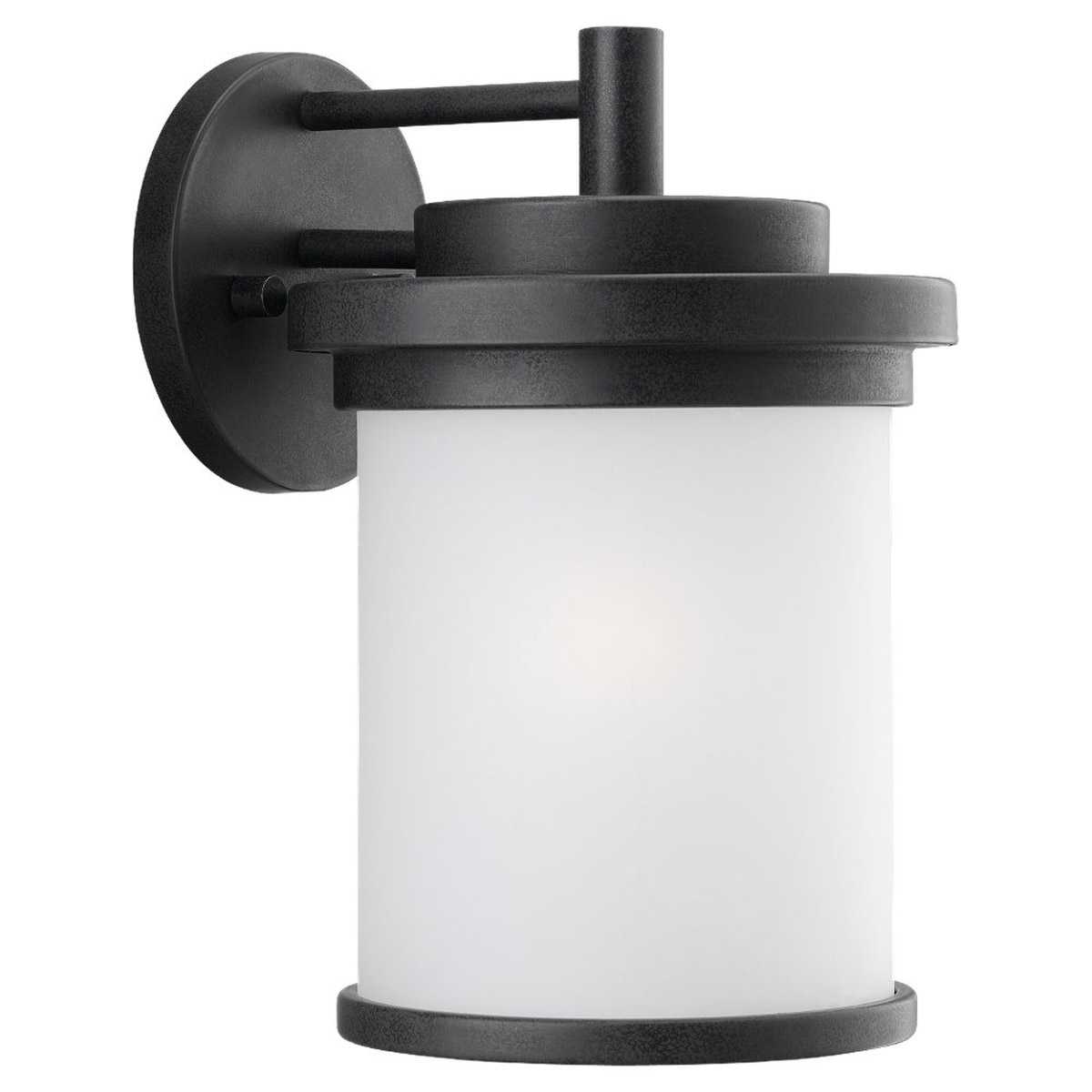 Sea Gull 88661-185 Winnetka 1 Light 12 inch Forged Iron Outdoor Wall Lantern in Satin Etched Glass photo