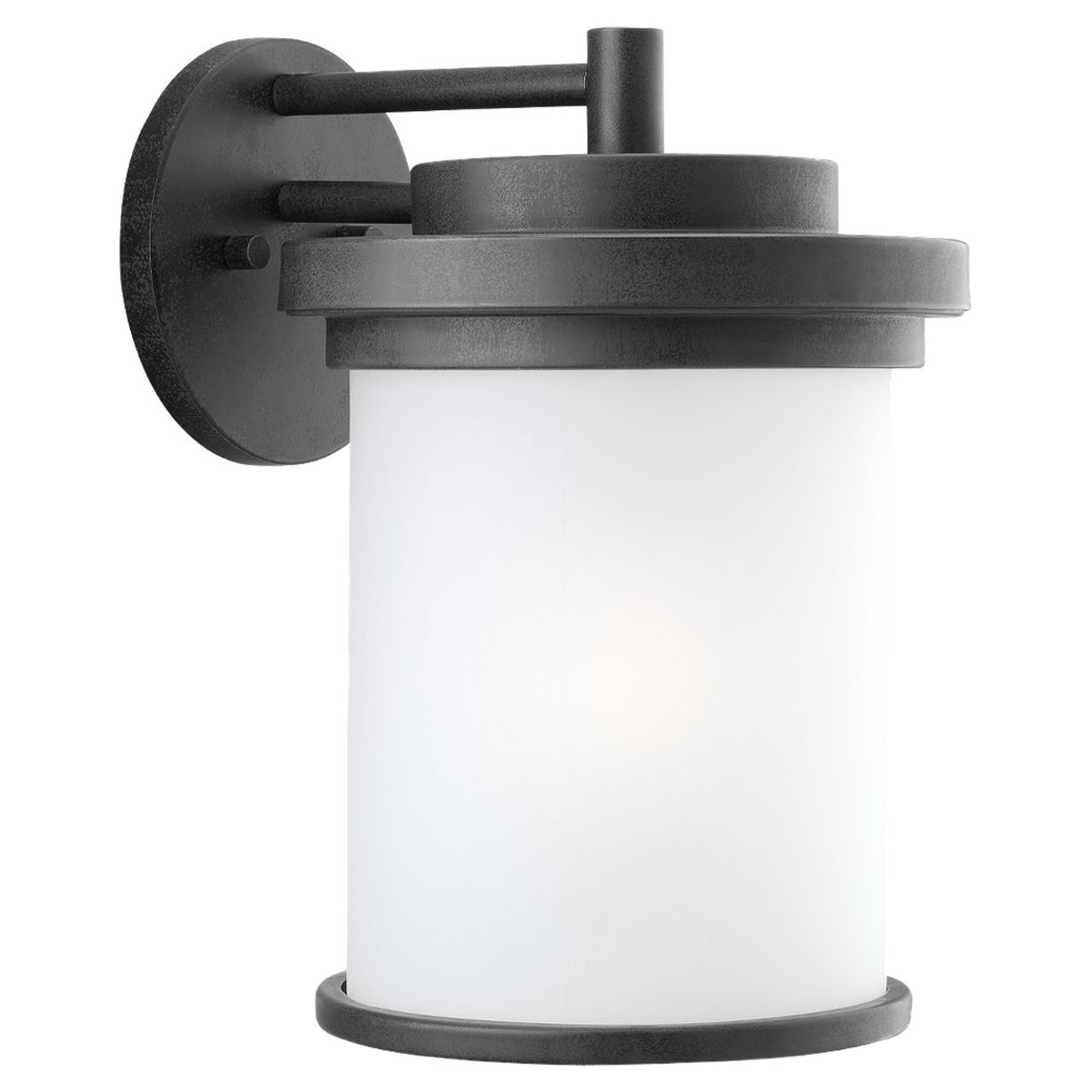 Sea Gull 88662-185 Winnetka 1 Light 15 inch Forged Iron Outdoor Wall Lantern in Satin Etched Glass photo